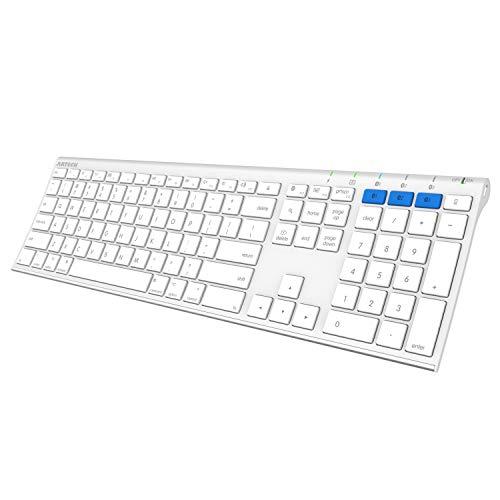 Arteck Mac Bluetooth Keyboard Multi-Device Stainless Steel Full Size Wireless Keyboard for iMac, iMac Pro, Mac Pro, Mac mini, MacBook, iPad, iPhone, Mac OS, iOS, iPad OS, Built-in Rechargeable Battery