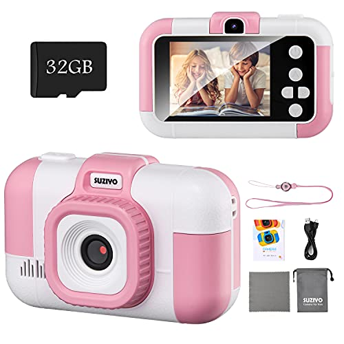 SUZIYO Kids Camera, Children Digital Selfie Video Camcorder 1080P Dual Lens 2.4 Inch HD, Birthday Christmas Electronic Gifts Toys for Age 3-9 Years Old Toddlers Girls & Boys (with 32G TF Card,Pink)