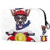 Custodia cosmetici viaggio portatile organizer borse il trucco Divertente cane da moto felice con casco Cerniera grande tasca portaoggetti