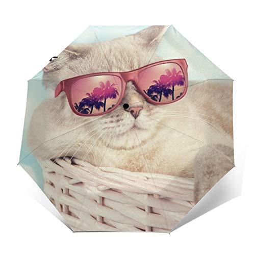 DOWNN Paraguas automático de triple pliegue con impresión exterior 3D lindo gato con gafas de sol impermeable protector solar resistente al viento paraguas plegable para hombre y mujer al aire libre