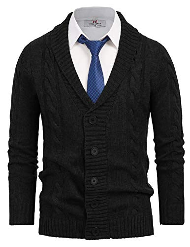 PJ PAUL JONES Men's Shawl Collar Knitwear Aran Cable Knit Cardigan Sweater Black, S