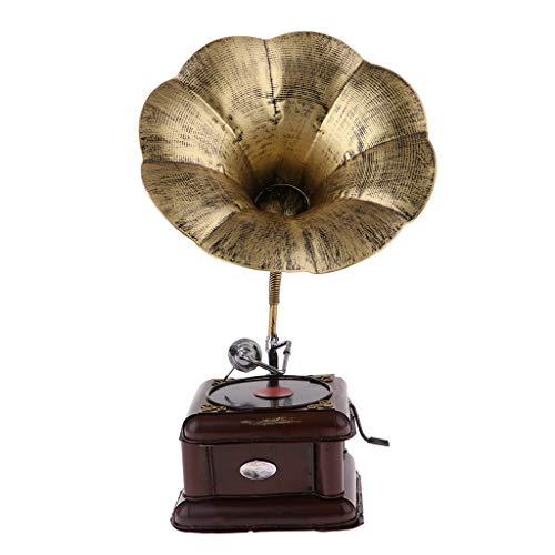 P Prettyia Vintage Grammophon Trichtergrammophon Modell, Retro-Phonograph Form Spieluhren - Golden