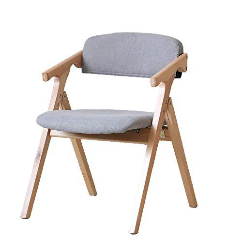 Deluxe gepolsterte Holz Stoff Klappstuhl Massivholz Esszimmerstühle Hause Faltbare tragbare Armlehne Schreibtisch Stuhl Rückenlehne Bürostuhl Hocker natürliche Farbe