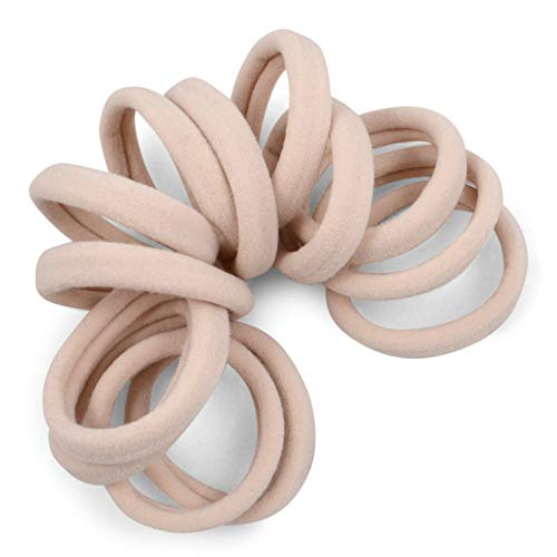 Cyndibands Gentle Hold 1.5 Inch Seamless Nylon Fabric Ponytail Holders in Cream for Blondes - 12 Hair Ties