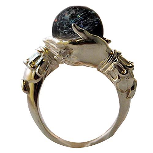fansheng Anillo de boda con cuentas de la suerte para amiga, esposa, novia, anillo vintage