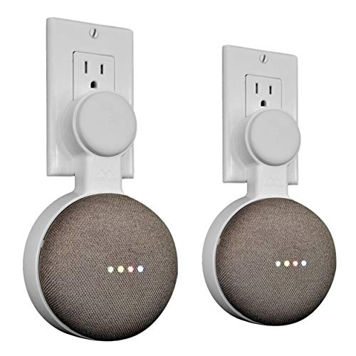 Mount Genie Affordable Essentials Google Home Mini (1st Gen) Outlet Wall Mount Hanger Stand | A Low-Cost Space-Saving Solution (White, 2-Pack)