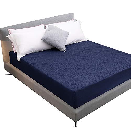 Shamdon Home Collection - Protector de colchón Acolchado, Impermeable, Extra Profundo, Navy Blue in Shell Pattern, Single(90x190 cm)