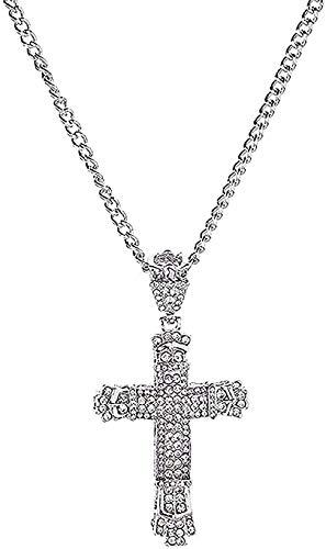 LBBYLFFF Collar de Diamantes de imitación de Cristal con Colgante de Cruz de Jesús, Collar de Cadena de suéter para Mujeres y Hombres, Regalo
