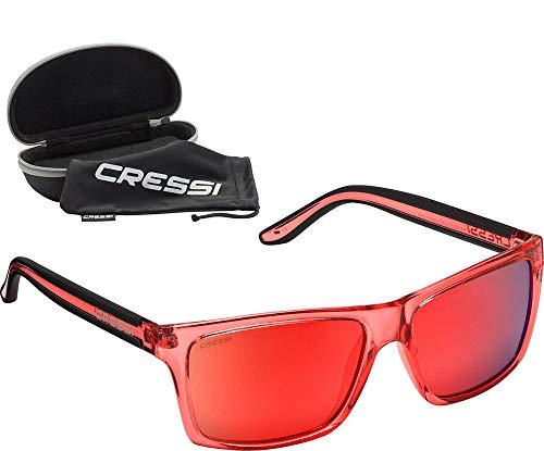 Cressi Unisex-Erwachsener Rio Sunglasses Premium Sport Sonnenbrille Polarisierte 100% UV-Schutz, Brillengestell Crystal Rot - Rot Verspiegelte Linsen, Einheitsgröße