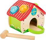 Small Foot 11084 Klopfhaus aus Holz, mit Vier farbenfrohen Kugeln und einem Holzhämmerchen Spielzeug, Mehrfarbig