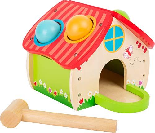 Small Foot- Maison à cogner, Beau Design Quatre Boules colorées et Un Petit Marteau en Bois Jouets, 11084, Multicolore