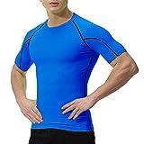 OXENSPORT Herren Funktionsshirt Fitness Kurzarm, Sport Tshirts Atmungsaktiv (Blau, Medium)