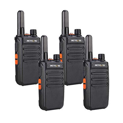 Retevis RB635 Walkie Talkie Professional, PMR446 Radio Bidireccional Larga Distancia, Walkie Talkie USB Recargable con Linterna para Seguridad Minorista, Supervivencia (Negro, 4 Piezas)