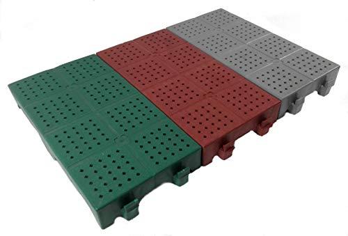 WUEFFE Piastrella in plastica 40x20h5 - mattonella Forata drenante Giardino Campeggio (Grigio, 1 Pezzo)
