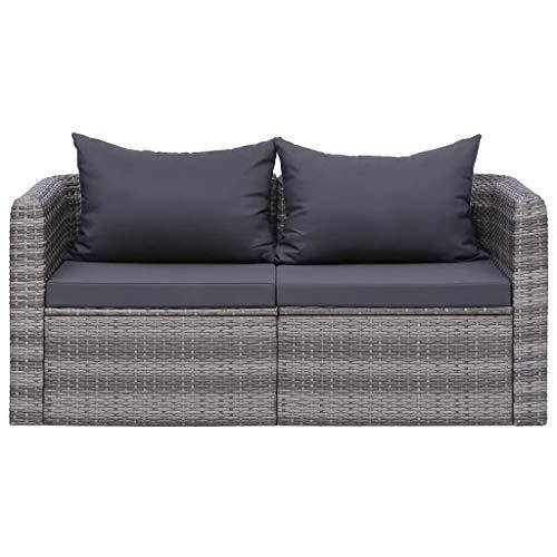 GOTOTOP 2 sofás esquineros de jardín, sofá de exterior de 2 plazas, con 2 cojines de asiento y 2 cojines para el respaldo, de polirratán, color gris