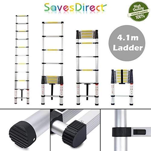 Escalera extensible multiusos de aluminio Saves Direct, 4,1 m, diseño compacto para casa y comercio Reino Unido