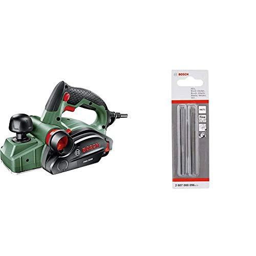 Bosch Handhobel PHO 2000, Hobelmesser, Karton (680 W, Hobelbreite 82 mm, Spantiefe 0 – 2,0 mm, Falztiefe 0 – 8 mm) & Professional Hobelmesser für Handhobel (2 Stück, 35°)