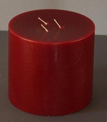 Dreidochtkerze, Mehrdochtkerze, Kerze, Stumpen, rund, dunkelrot, Durchmesser 13 cm, H:11 cm, 3 Dochte, Brenndauer 60 Std.