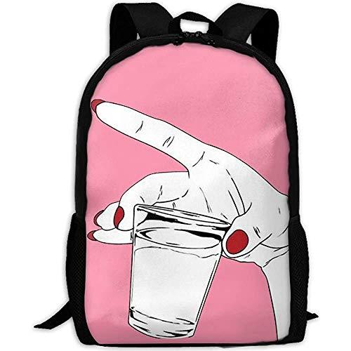 Schulrucksack,Mit einem roten Nagellack Hand mit Einer Tasse voller Druck Rucksack College School Laptop-Tasche Daypack Travel Umhängetasche für Unisex