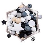 let's make Perles de Dentition en Silicone Bricolage 100pc Accessoires D'allaitement Diverses Formes Fabrication de Colliers/Bracelets pour Bébé, Chaînes de Tétine Cadeau de Douche Nouveau-né
