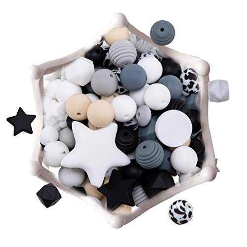 DIY Silicone Teething Beads 100pc Nursing Accessories Various Shapes Making Baby Necklaces/Bracelets, Pacifier Chains Newborn Shower Gift