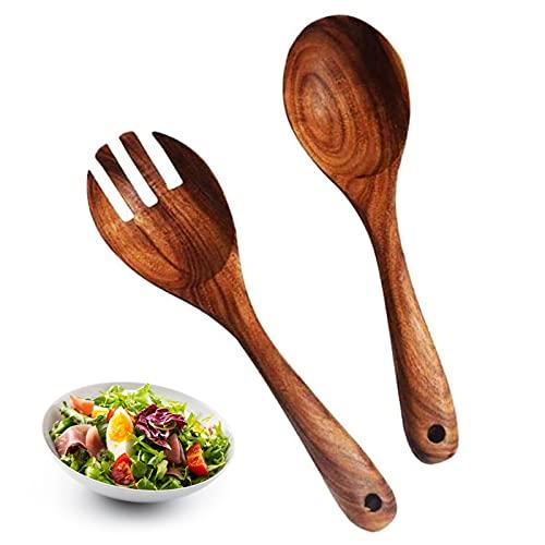 solawill Lot de 2 Couverts à Salade en Bois, Serveurs Salade Bois Fourchette à Salade Bois Couverts à Salade Écologiques Cuillère Cuillère en Bbois Réutilisable Ustensiles de Cuisine pour la Cuisine