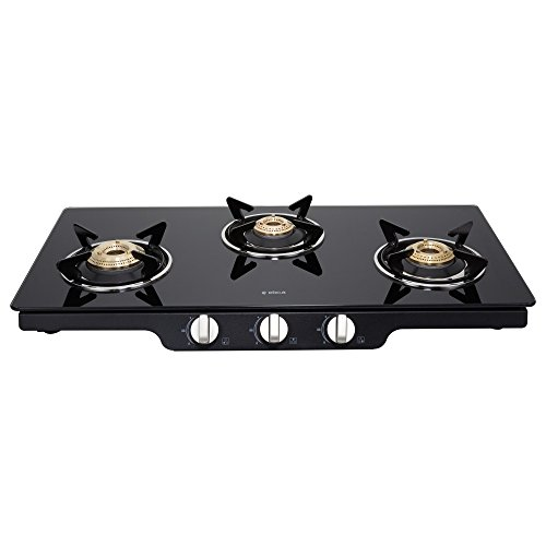 Elica Glass 3 Burner Gas Stove (Patio ICT 773 BLK)