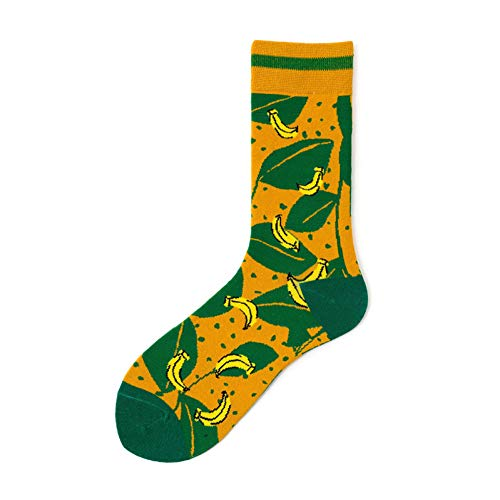 DYCZWZ 3 Paires Les Sports Les Loisirs Chaussettes Happy Socks - Coton avec Motifs De Cerises, Bananes, Cerises Et Bananes