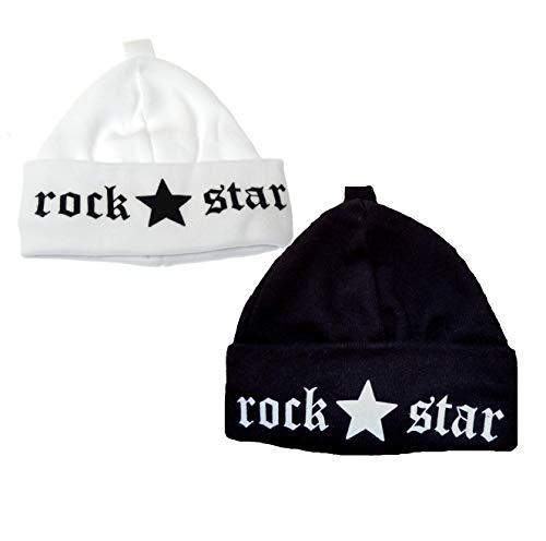 Babymajawelt® Duo Set - 2 Bonnets Bébé Rock Star + Prince + ViB + Princesse - Premiers Bonnets 0-3 Mois (Rock Noir+Blanc)