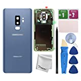 Vimour Back Cover Glass Replacement for Samsung Galaxy S9+ Plus G965U All Carriers with Pre-Installed Camera Lens, All The Adhesive and Professional Repair Tool Kits (Coral Blue)