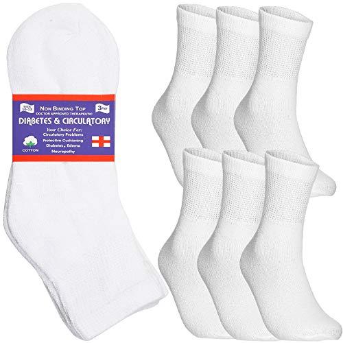 Special Essentials 6 Pairs Men's Cotton Diabetic Ankle Socks Black Grey White (White, 10-13)