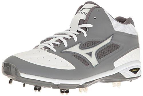 Mizuno Men's Dominant MID Grey/White Baseball Shoe, 9 D US