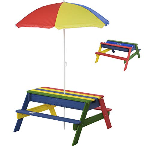 Outsunny Kids Picnic Table Set Wooden Bench Rainbow with Sandbox Removable & Height Adjustable Parasol Outdoor Garden Patio Backyard Beach 95 x 88.5 x 48.7cm