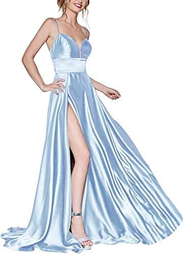 ASBridal – Vestido de noche de fiesta con escote en V, satén, sin espalda, Azul (Sky Blue), 28W US