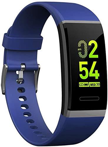 JSL Reloj inteligente Bluetooth Fitness Tracker con pantalla táctil, monitor de frecuencia cardíaca, impermeable, IPX68, llamada, SMS, pulsador, elegante pantalla grande, pulsera deportiva negro-azul