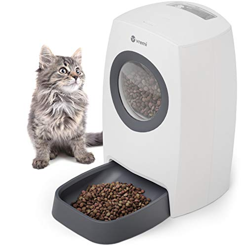 Vremi Automatic Pet Feeder for Cats and Dogs - Large 6L Capacity - Easily Programmable with Timer for up to 4 Meals Per Day - AC Power with Battery Backup and Voice Recorder for Custom Feeding Message