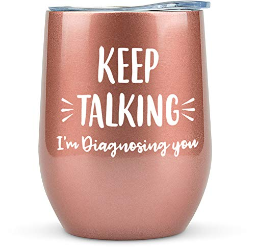 Psychology Gifts - Tumbler/ Mug 12oz for Wine, Coffee or Any Drink - Funny Gift Idea for Psychologist, Psychiatrist, Therapist, Therapy, School Counselor, Glass, Women, Mental Health, Graduation