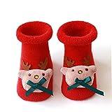 Deanyi 1Pair Nette Baby-Socken Weihnachten neugeborenes Kind-Kleinkind-Socken-Baby-Jungen-Socken Weihnachtskostüm Weihnachtssocken für Baby, Rot (S)