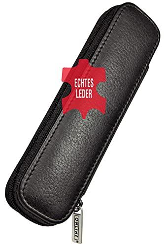 ONLINE Lederetui für zwei lange Schreibgeräte, Füller- und Kugelschreiber-Etui mit Reißverschluss, für Stifte aller Marken, Echtleder, schwarz, Büro und Freizeit, Maße: (LxBxH) 15,5 x 5 x 2,2 cm
