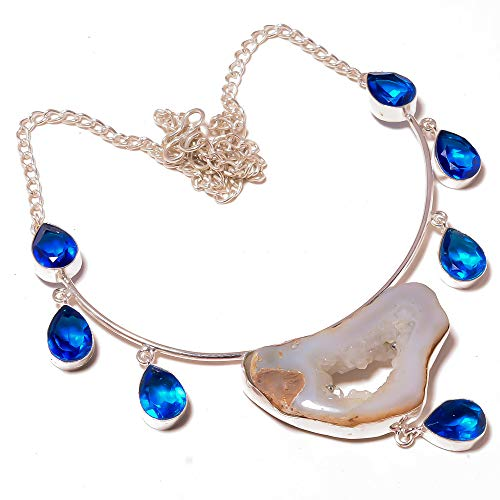 White Window DRUZY and Royal Blue TOPAZ Quartz NECKLACE 18' Long, Ethnic...