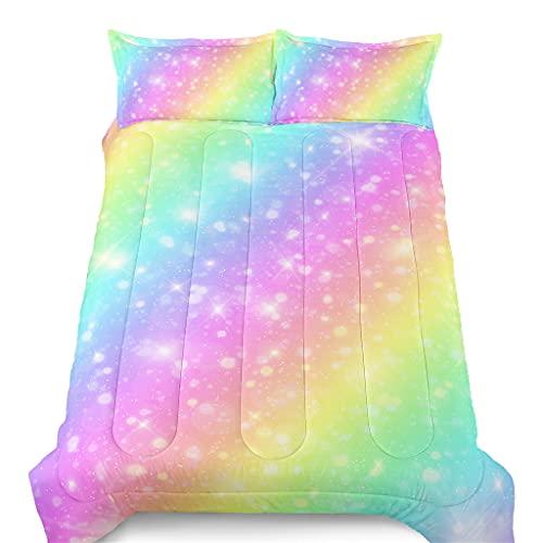 SIRDO Colorful Rainbow Comforter Set Girls Bedding Set with 2 Pillow Shams Twin Size