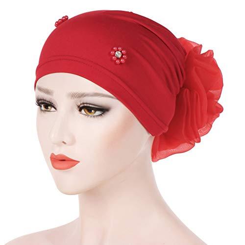 SoundsBeauty Chapéu turbante islâmico muçulmano Hijab imitação de pérolas strass feminino flor traseira chapéu turbante para adultos vermelho