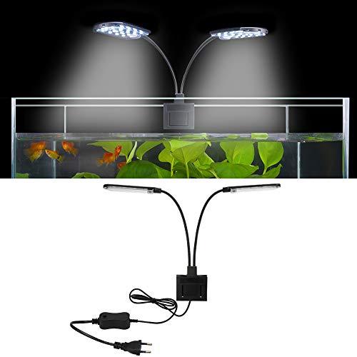 SENZEAL X7 LED Aquarium Beleuchtung Zwillinge Aquarium Lampe Zwei Köpfe LED Licht 220V 15W 1600LM für 8 bis 15 Zoll Fisch Tank Weißes Licht