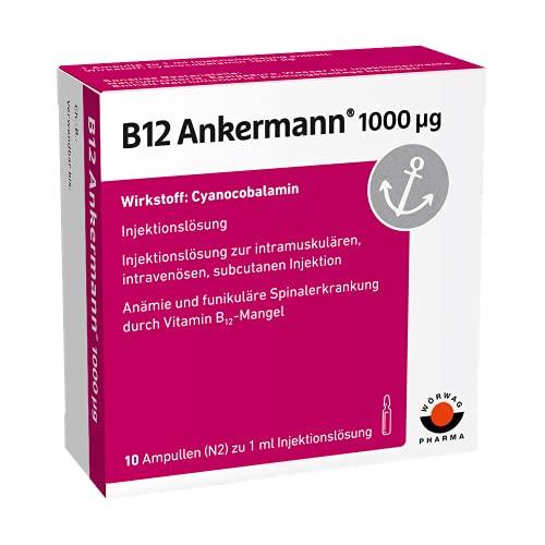 B12 Ankermann® B12 Injekt, Vitamin B12 1000µg - Effektiv und schnell gegen Vitamin B12 Mangel, 10 Amp. à 1 ml