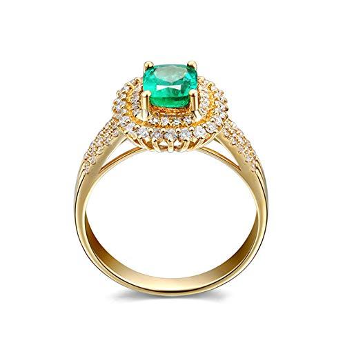 AueDsa Anillos Oro Anillo Oro 18 Kilates Mujer Oval Esmeralda Verde Blanca 0.75ct Anillo Talla 11