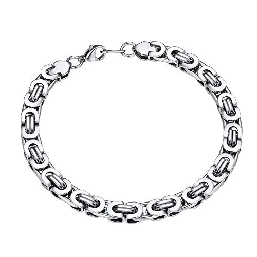 ChainsPro Mens Bracelets Silver Bracelet for Men Byzantine Chain Silver