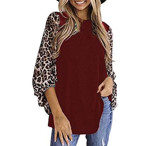 Blusas de Mujer Elegante Costura de Leopardo Camisas Mujer Manga Larga Suelta Camiseta Mujer de Cuello Redondo Casual para Otoños Invierno Tops Basica Ideal para Ocio,Vida Diaria,Fiesta