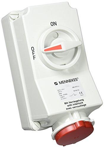 Mennekes 101100008 CEE-fitting met schakelaar en inschakeling, stopcontacten, 400V, 50-60Hz, 32A, 4-polig, IP 44, rood