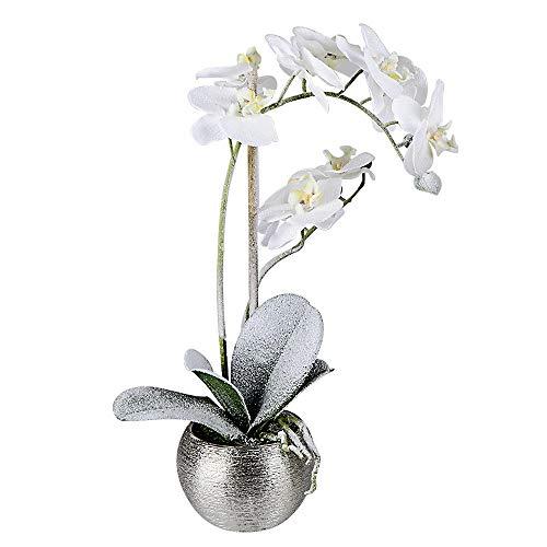 Formano Orchidée décorative en pot en plastique, 44 cm, 1 pièce, blanc/vert/argenté, avec feuilles de neige décorées