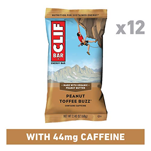 CLIF BAR - Energy Bars - Peanut Toffee Buzz - 44mg Caffeine (2.4 Ounce Protein Bars, 12 Count)